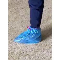 Calzari usa e getta azzurri in HDPE con laccetti