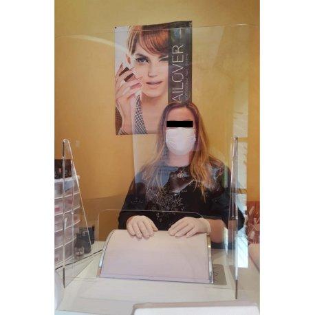 Pannello Parafiato antibattero in Plexiglass per tavoli manicure