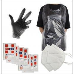 Kit igiene 2 - Guanti in lattice, grembiule mascherine e gel igienizzante