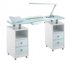 Double GLASS TABLE for nail reconstruction, with suction