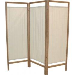 3-door wooden screen in cotton, natural color