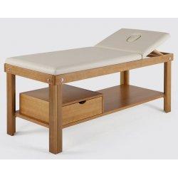 Lettino da massaggio con foro viso, ripiano e cassetto di serie  - con tinte del legno