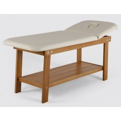 Massage table with face hole and shelf - natural color