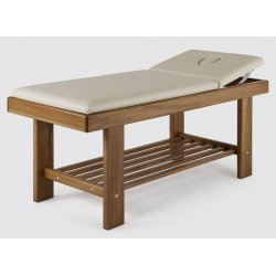 wellness massage table with face hole and shelf  - natural color