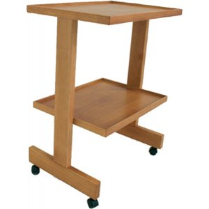 cart in solid wood with two shelves and swivel wheels, color of your choice