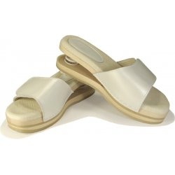 RELAXING CLOGS open, with spring, in wood | White color