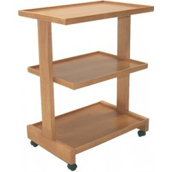 cart with three shelves in solid wood with swivel wheels, colors of your choice