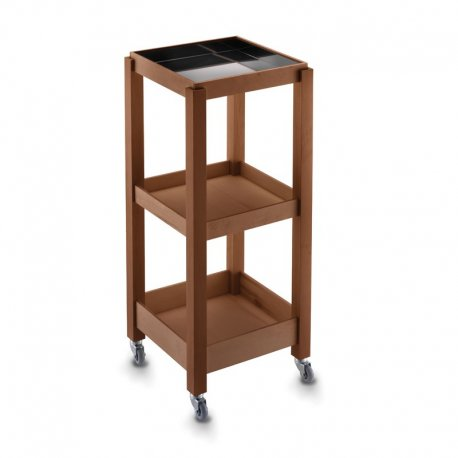 ECO SMALL - TROLLEY SQUARE WOODEN TRAY WITH STEEL