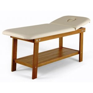 Massage table with face hole and shelf