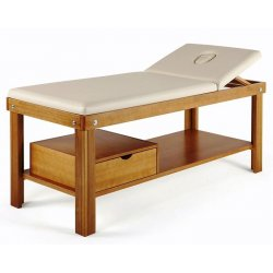 Massage cot with face hole, shelf and drawer - with wood colors