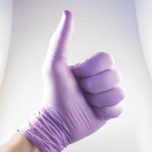 Guanti in Nitrile viola senza polvere con grip antiscivolo